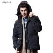 MORUANCLE New Men's Winter Warm Padded Jackets Hooded Parka For Male High Quality Cotton Lined Thick Thermal Coats With Hood