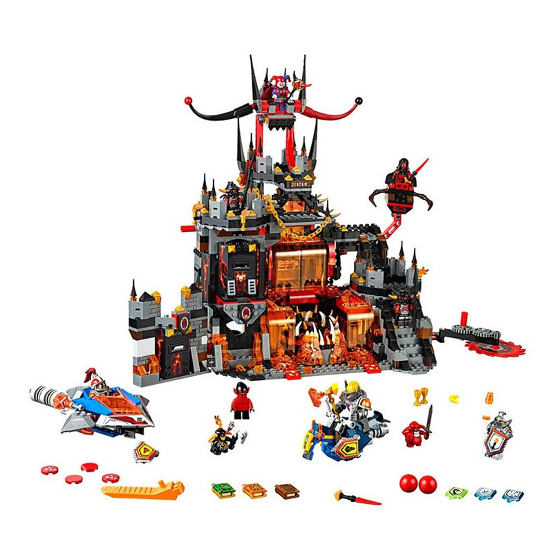 Gifts Pogo Bela Nexus Nexo Knights 1237Pcs+ Chevaliers Axl Jestros Volcano Lair Building Blocks Bricks Compatible Legoe Toys bela nexus knights building blocks toy set lance s mecha horse gifts toys compatible with 70312 knights robotics mindstorm