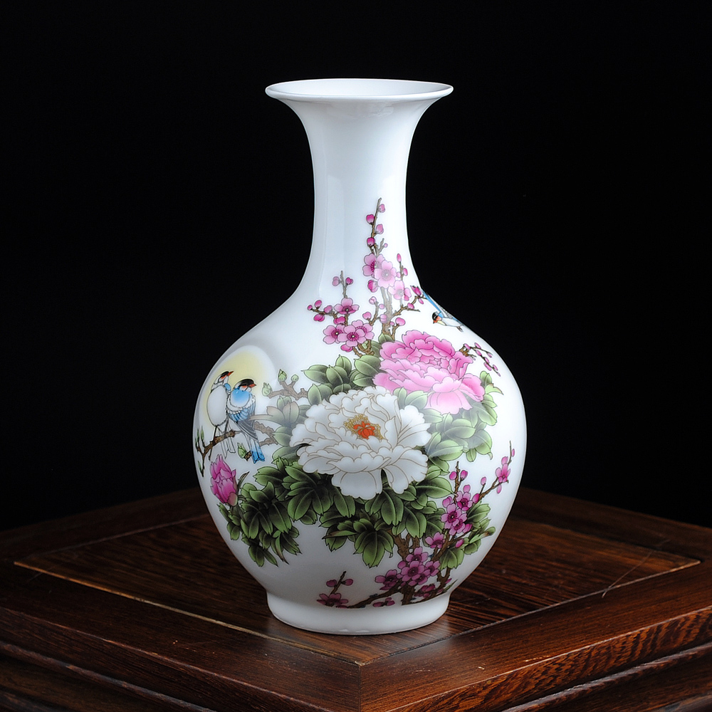 jingdezhen traditional ceramic vase pastel flower rich pottery porcelain tabletop vase with base. Black Bedroom Furniture Sets. Home Design Ideas