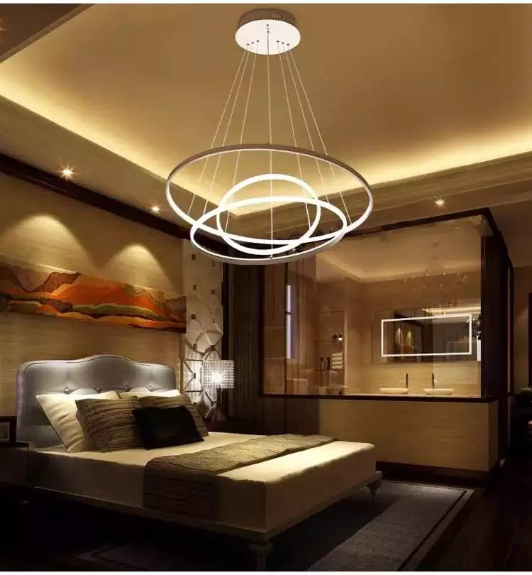 Modern pendant lights for living room dining room 3/2/1 Circle Rings acrylic aluminum body LED Lighting ceiling Lamp fixtures modern led pendant lights for dining living room hanging circel rings acrylic suspension luminaire pendant lamp lighting lampen