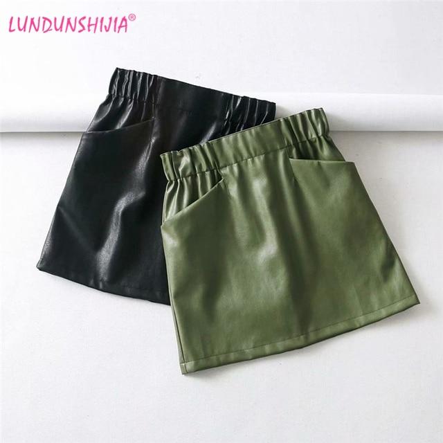 LUNDUNSHIJIA 2018 秋冬の女性のスカート Pu レザーセクシーなミニスカートポケットパッケージヒップ弾性ウエストスカート
