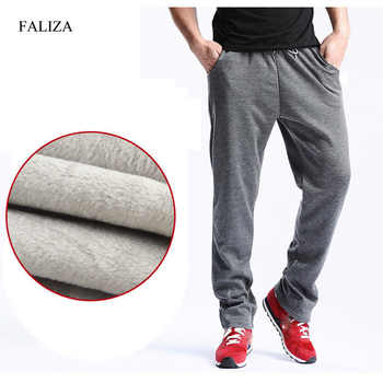FALIZA 2019 New Men's Winter Pants Thick Fleece Jogger Straight Mens Pants Mirco Velvet Sweatpants Men Joggers Casual Pants CK-D - DISCOUNT ITEM  49% OFF All Category