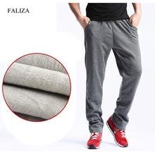 FALIZA חדש גברים של חורף מכנסיים עבה צמר Jogger ישר Mens מכנסיים מרק קטיפה מכנסי טרנינג גברים רצים מכנסי קזואל CK D
