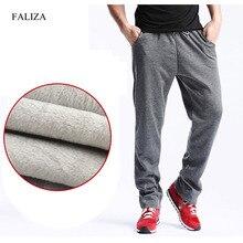 FALIZA New Mens Winter Pants Thick Fleece Jogger Straight Mens Pants Mirco Velvet Sweatpants Men Joggers Casual Pants CK D