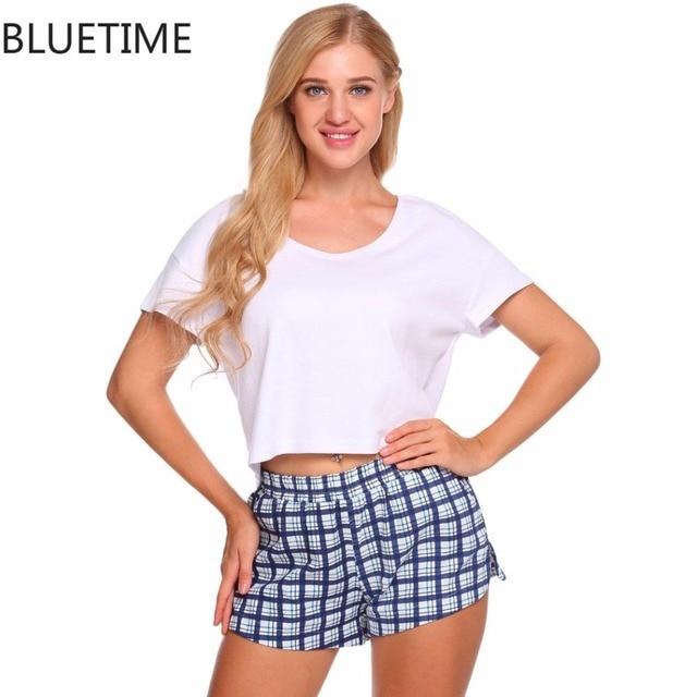 6a85611dfc3f Women Pajamas Set Woman Clothes Summer Short Sleeve Crop Top And Shorts  Suit Lounge Sleepwear Sleep Home Might Wear Pyjama Femme