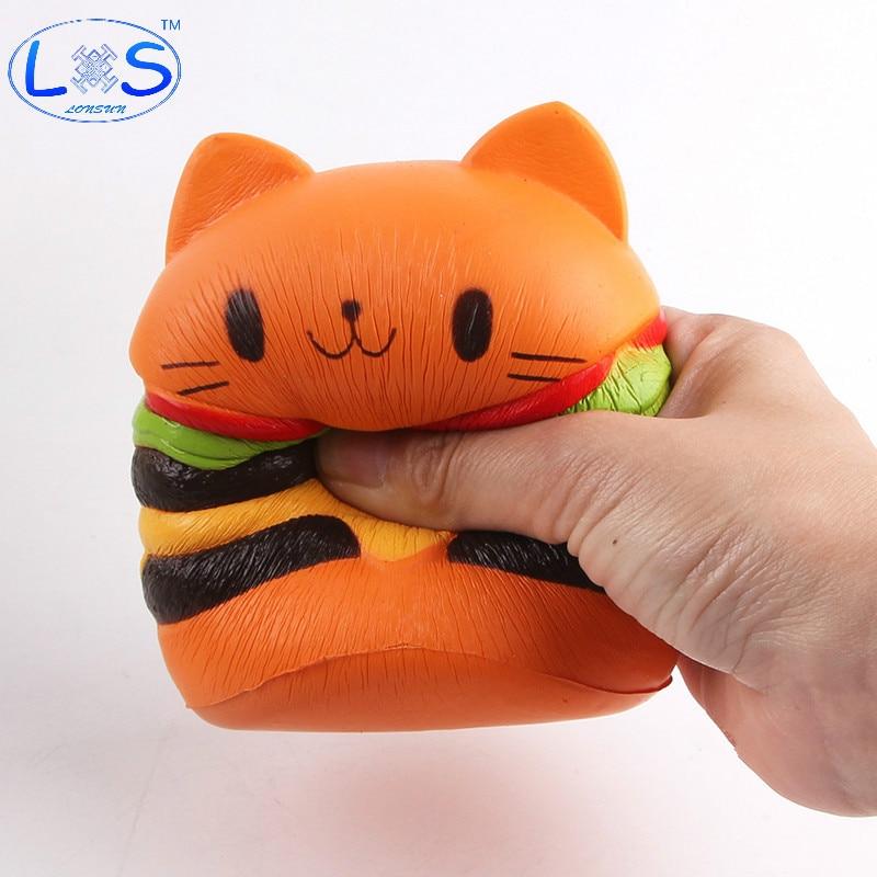 Squishy And Slime Dares List : (LONSUN)Squishy Rebound Toy PU Simulation Hamburger Cat Antistress Toys Hobbies Novelty Gag Toys ...