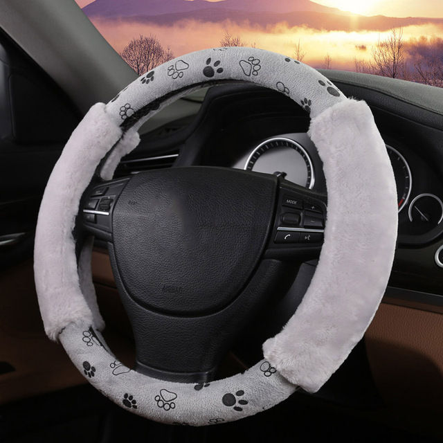 Padfoot Cute Plush Gray Car Steering Wheel Covers 4 Types