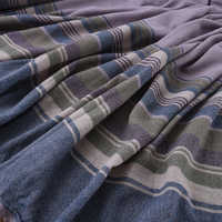 140CM Wide Stripe Knitted Blue Purple Wool Fabric for Autumn Winter Dress Overcoat Jacket H279