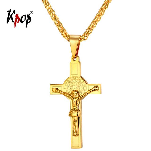 Kpop cross necklace jesus christian religious jewelry stainless kpop cross necklace jesus christian religious jewelry stainless steel yellow gold crucifix cross pendant necklace for mozeypictures Image collections