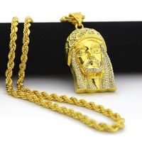 Mens Iced Out Jesus Pendant With Perfect Thick Rope Chain Gold Tone Jesus Head Pendants Necklace