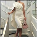 Robe De Soirée Longue 2016 Elegante de Um Ombro Vestido de Noite Comprimento Chá Branco Simples Vestido De Noite Curto Festa Vestido de caftan