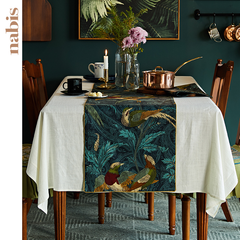 Bulbul Floral Cotton Cloth Table Runner Modern For Party Wedding Home Hotel Office Decoration