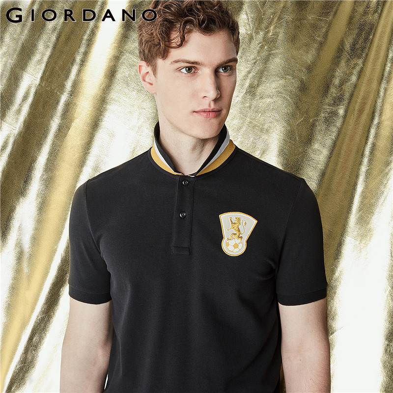 Giordano Men   Polo   Shirt Embroidery   Polo   Men Country Pattern Camisa   Polo   Masculina 2018 Summer   Polo   Hombre Cotton Clothing