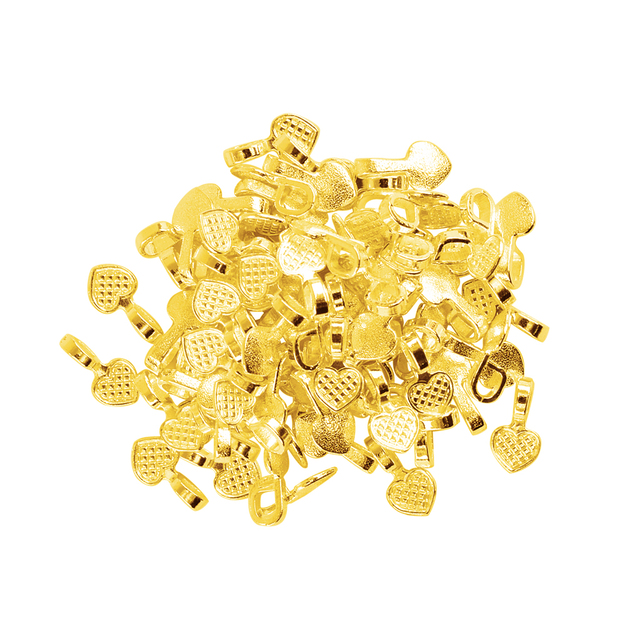 100 Pieces Wholesale Shiny Gold Heart Glue on Bails Setting For Tile Glass Neckl