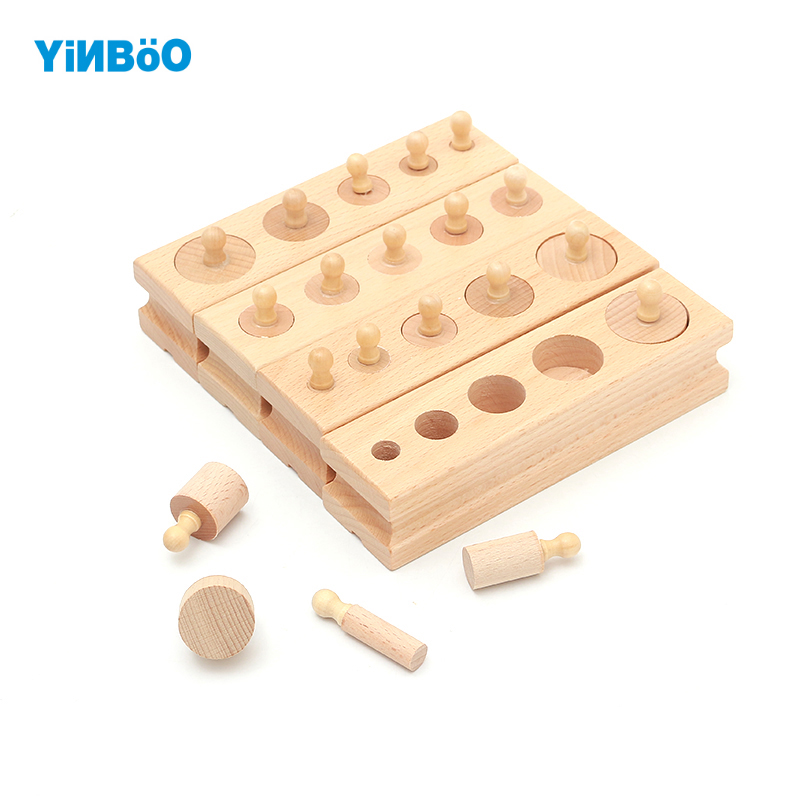 Montessori Educational Wooden Toys For Children Cylinder Socket Blocks Toy Baby Development Practice and Senses 4pc