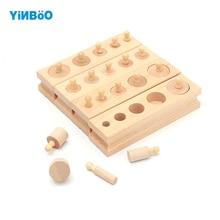 Mediniai žaislai Montessori šviečiamieji cilindrai Lizdas blokai žaislai Kūdikių vystymosi praktika ir jausmai
