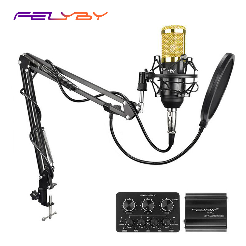 FELYBY multi-function live sound card professional condenser microphone bm800 for computer karaoke network podcast microphone ugx88 professional one to four wireless microphone professional stage performance meeting the sound box condenser microphone
