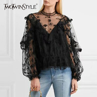 TWOTWINSTYLE Lace Floral T Shirt Female Lantern Sleeve Ruffle Mesh Women S T Shirts Embroidery Sexy