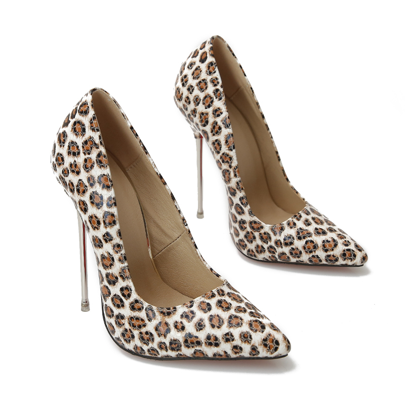 Pumps Women Shoes Red Leopard High Heels 13cm Patent Leather Sexy Metal Stiletto Fenty Beauty Ladies