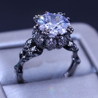 New Arrival Punk Fashion Jewelry 10KT Black Gold Filled Round Cut White 5A Cubic Zirconia CZ