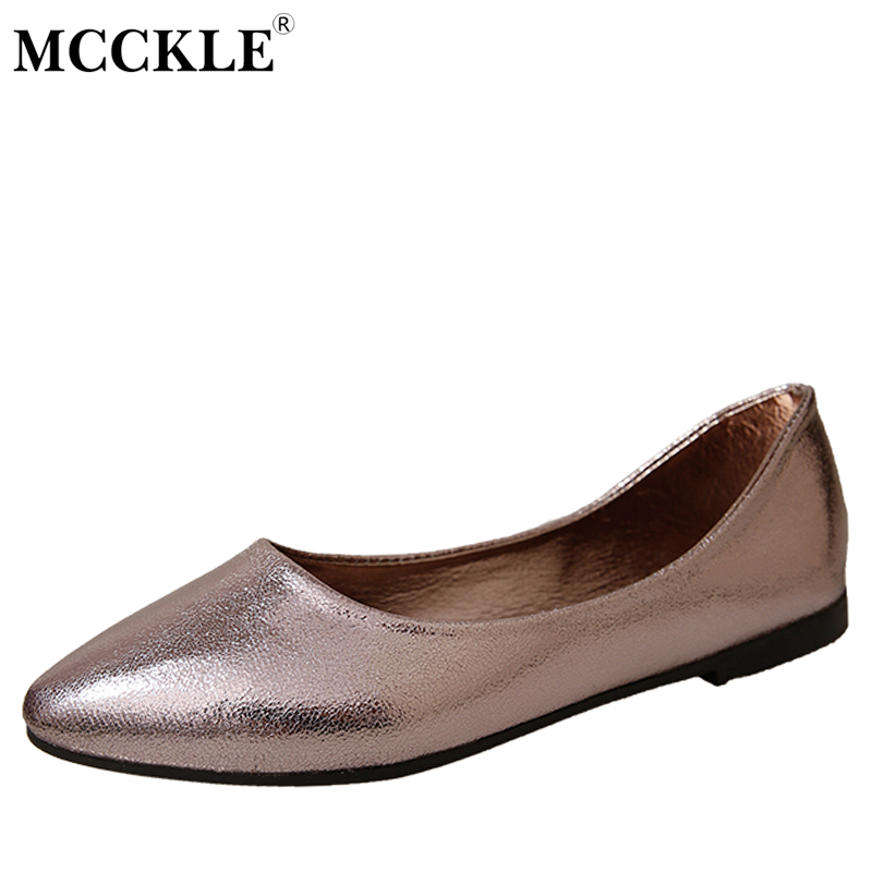 MCCKLE Women's Fashion Flat Sexy Slip On Leather Loafers 2017 Ladies Spring Autumn Style Pointed Toe Office Comfortable Shoes mcckle 2017 fashion woman shoes flat women platform round toe lace up ladies office black casual comfortable spring