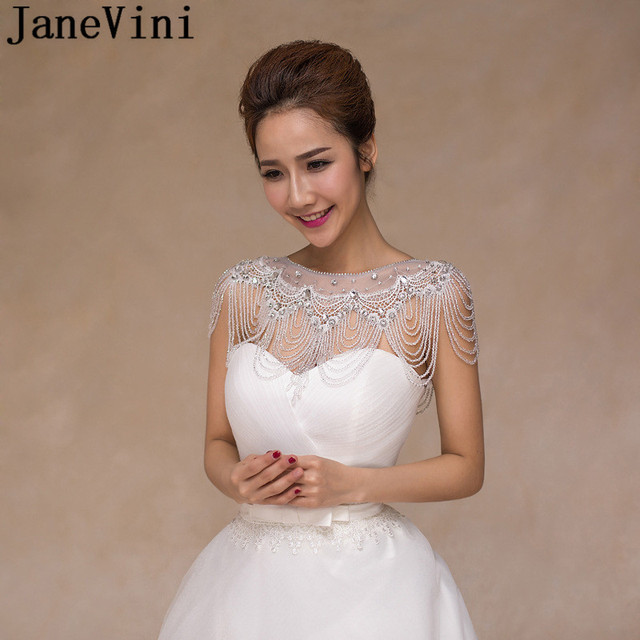 JaneVini 2018 Sparkly Bridal Crystal Rhinestone Shoulder Necklace Chain  Beaded Party Wedding Shoulder Jewelry Chains Wrap Women eefaf9987c14
