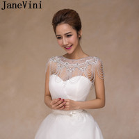JaneVini 2018 Sparkly Bridal Crystal Rhinestone Shoulder Necklace Chain Beaded Party Wedding Shoulder Jewelry Chains Wrap Women