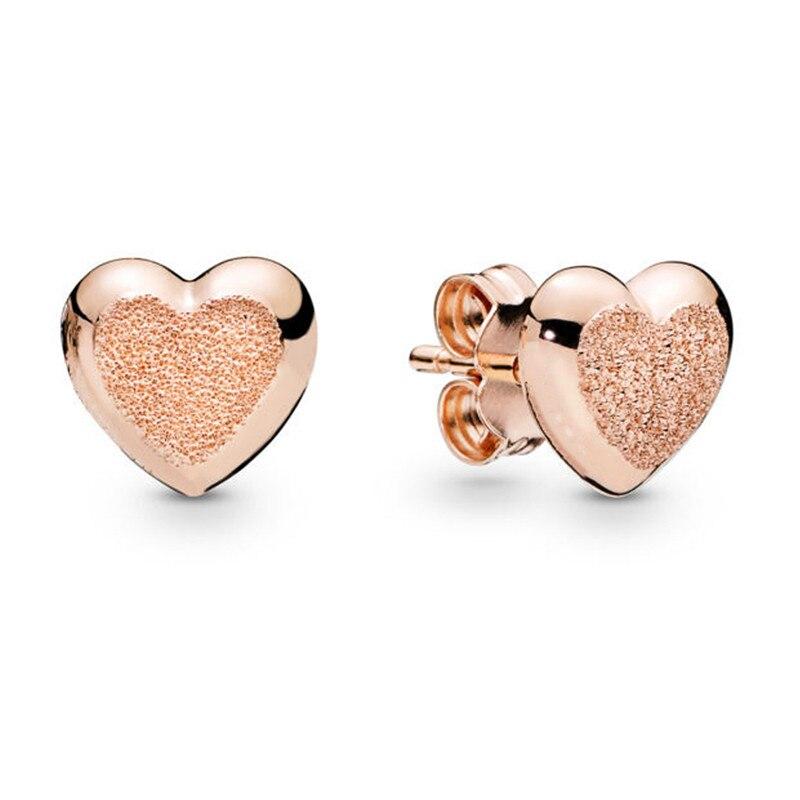2019 Spring New 925 Sterling Silver Women Earrings Branded Rose Matte Brilliance Hearts Earring Studs DIY Jewelry Birthday Gift in Stud Earrings from Jewelry Accessories