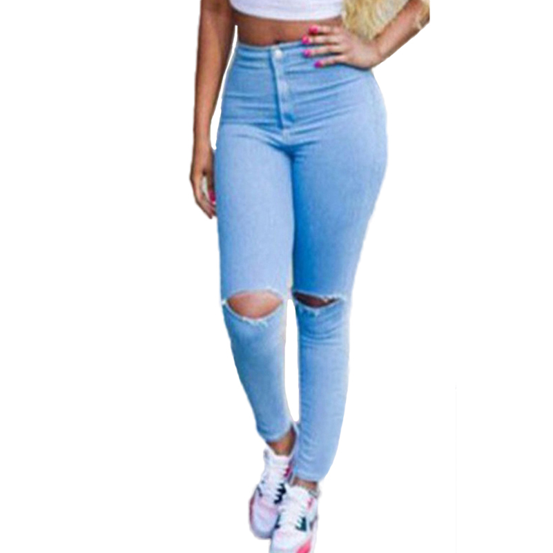 High Waist Blue Cool Denim Jeans Women Summer Skinny Boyfriend Hole Ripped Femme Pencil Pants Fashion Female Long Trousers 40*F/ new 2017 boyfriend hole ripped jeans women pants cool denim vintage skinny pencil jeans high waist casual pants female p45
