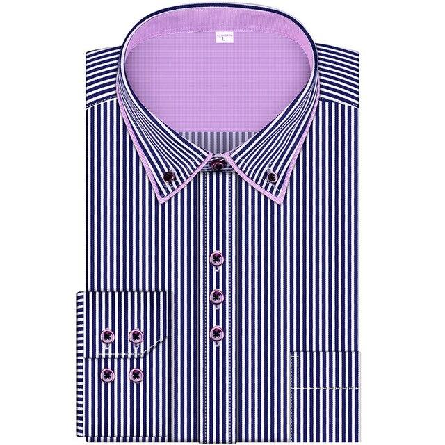 2016 Новые Полосы Моды мужской Деловой случай С Длинными Рукавами Рубашки Мужчины Рубашка Двойной Воротник Рубашки Высокого Качества