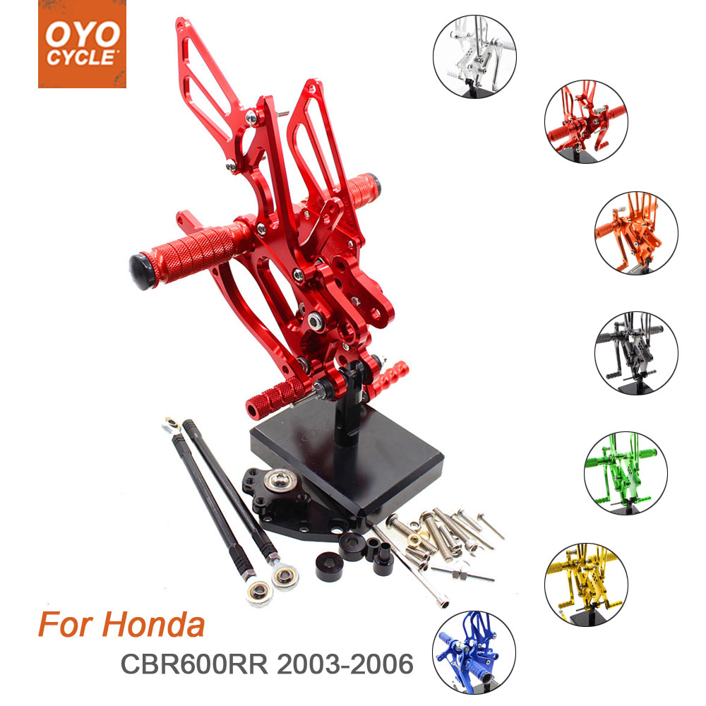For Honda CBR600RR 2003 2006 Motorcycle Rear Set Accessories CNC Adjustable Rearset Foot Pegs CBR 600RR Foot Rests Footpegs in Foot Rests from Automobiles Motorcycles
