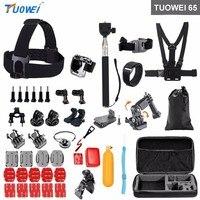 TUOWEI Sport Camera Accessories Set Selfie Stick Head Chest Belt Mount For Gopro Hero 6 5