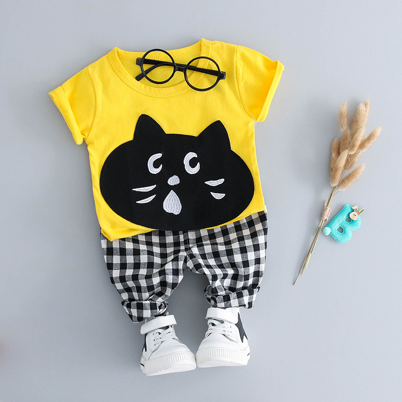 PULABO Summer 2018 New Casual Boy Clothes Set Short Sleeve Yellow Cat T-Shirt+Strip Pant Suits Boys Clothing Sets Kids Clothing