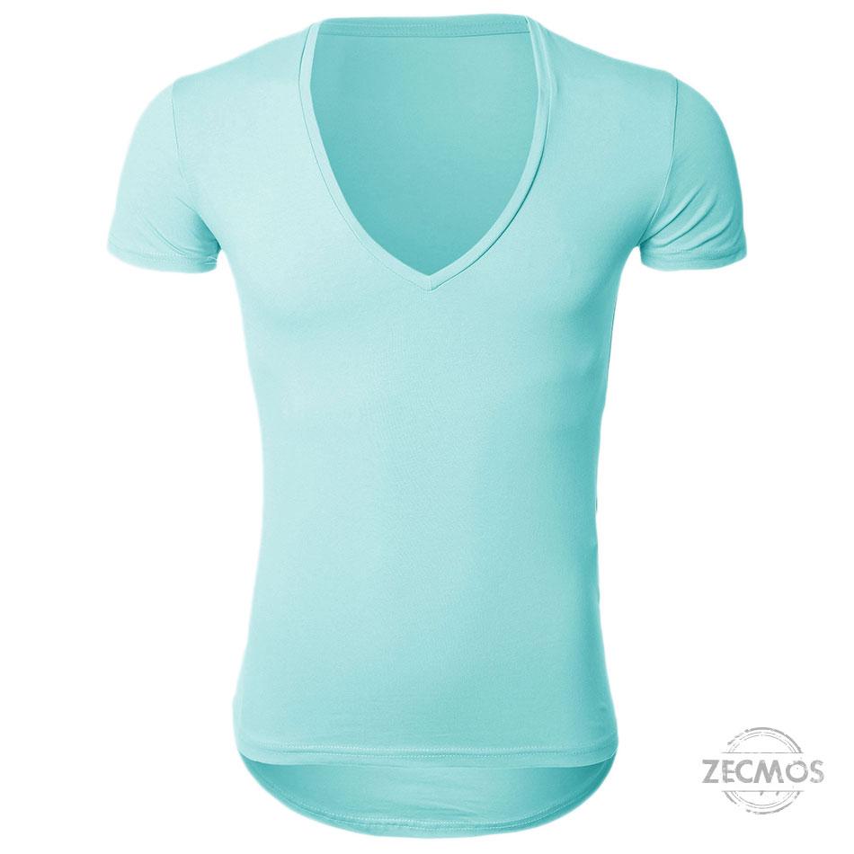 Zecmos Deep V Neck Sexy Men T-Shirt Vintage Short Sleeve Solid Color Muscle Fit T Shirt Men Top Tees Fashion 28