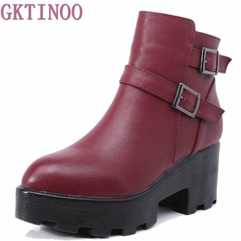 Autumn Winter Women Boots High Heels Platform Buckle Genuine Leather Short Booties Black Ladies Shoes Good Quality T6281 spring autumn genuine leather square heels lady martin boots retro buckle buckle high heels boots 20161222