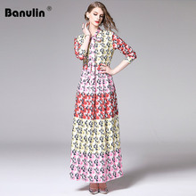 Banulin Runway Fashion Designer Maxi Dress 2XL Plus size Womens Long Sleeve Boho Colorful Flower Print Casual