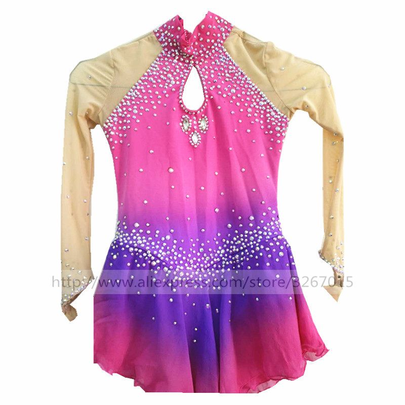 Figure Skating Dress Women's Girls' Ice Skating Dress Reddish purple gradation A hand inlaid drill High performance clothing