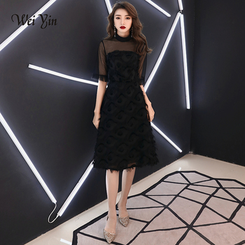 weiyin 2020 New Short Evening Dress Black With Black Color Lace short Prom Party Gowns Praty Dresses WY1340