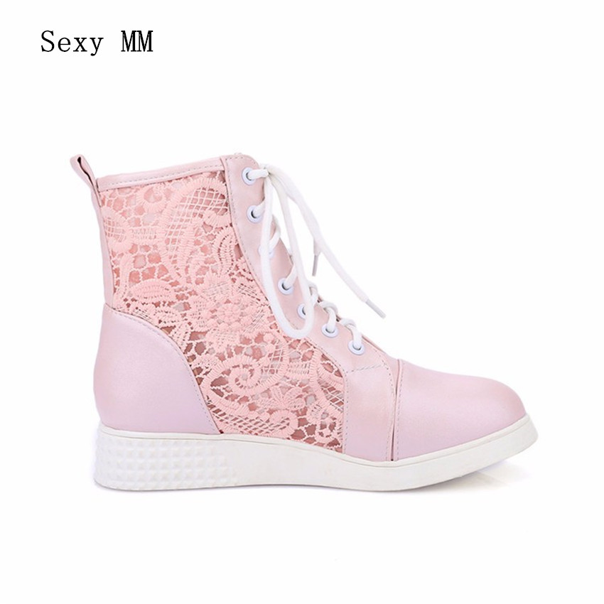 High Quality Summer Spring Cut-Outs Woman Flat Ankle Boots Lace-Up Women Flats Casual Shoes Short Boots Plus Size 34-40.41,42,43 new 2017 spring summer women shoes pointed toe high quality brand fashion womens flats ladies plus size 41 sweet flock t179