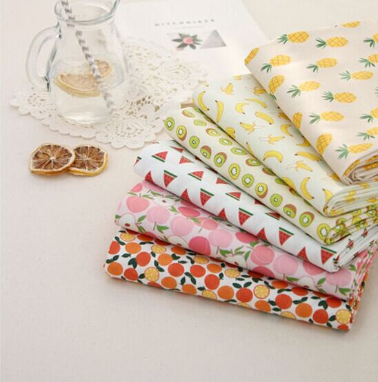 50cm Fruit Cotton Fabric Diy Patchwork Sewing Bedding Baby Pillow Cloth Fabric Smart Home 6 Pcs 40