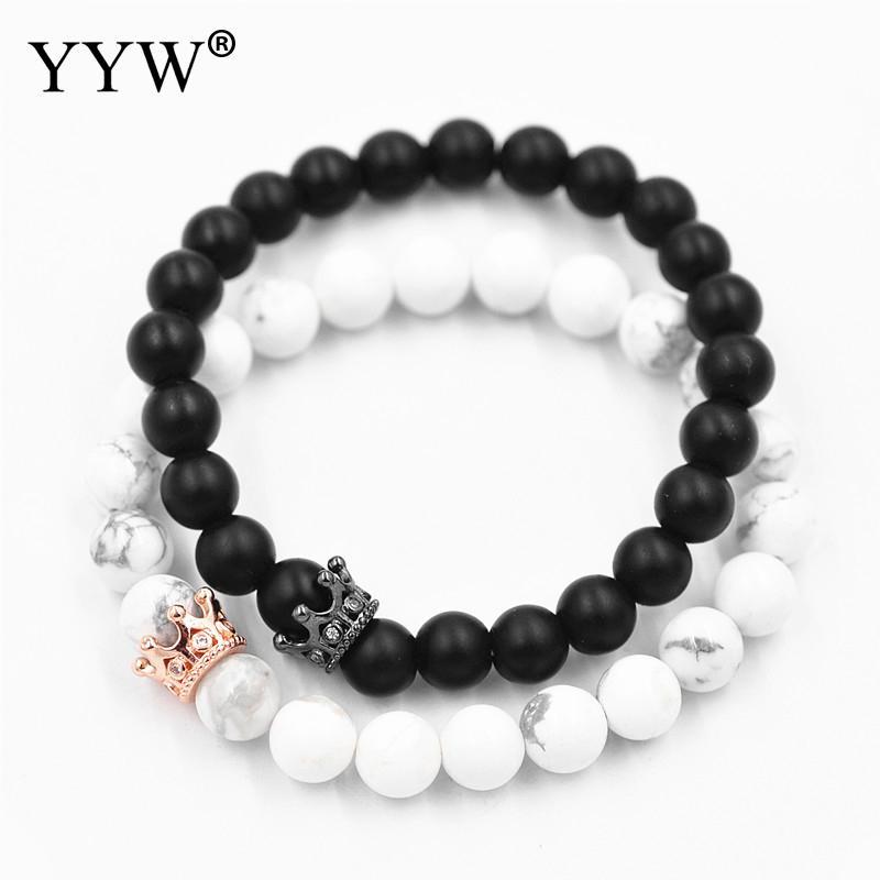 Unisex Bracelet Black stone black white with crown rose gold color ...