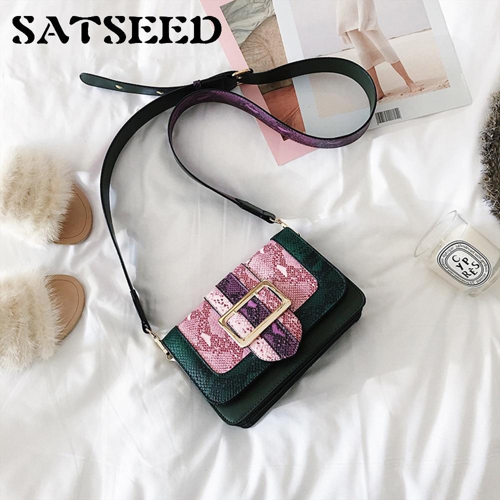 цена на 2017 New Winter Color Bag Package Small Snakeskin Pattern Fashion Wide Straps Shoulder Messenger Bag