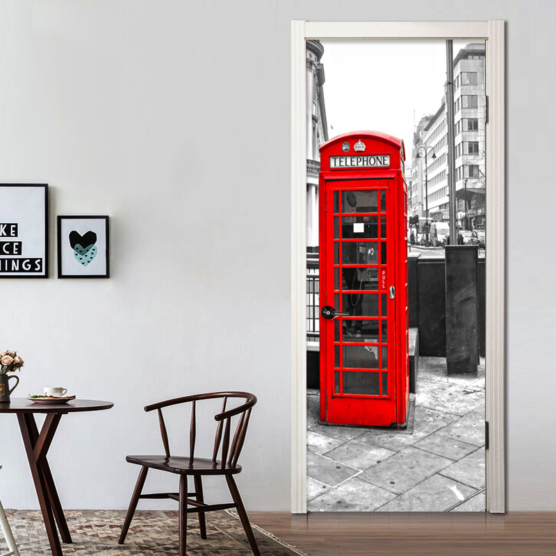 Modern Creative Red Telephone Booth 3D Mural Wallpaper Cafe Restaurant Door Mural Sticker PVC Self-Adhesive Home Decor Wallpaper creative telephone booth pattern kraft paper poster wall sticker for home decoration