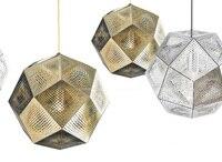48 см гравировкой ромбы из металла, Нержавеющаясталь подвеска Ресторан подвесной светильник серебро, золото, Медь