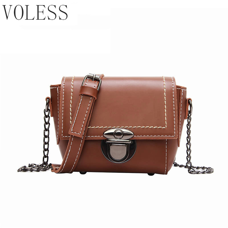 New Arrival Women leather Shoulder Bag Satchel Handbag Retro Messenger Bag Ladies Chain  ...