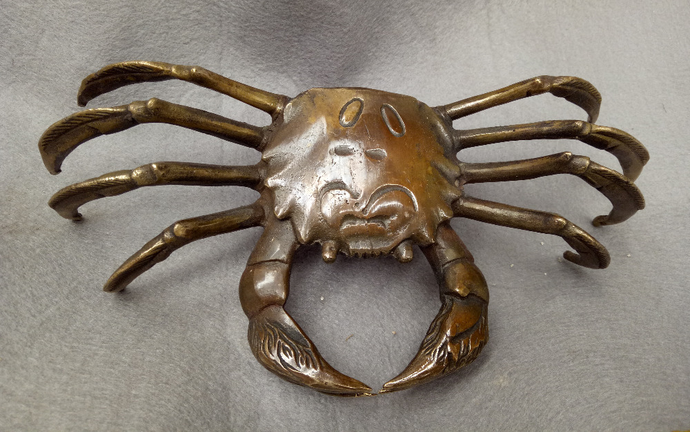 folk auspicious Chinese pure copper bronze crab decorative sculpturefolk auspicious Chinese pure copper bronze crab decorative sculpture