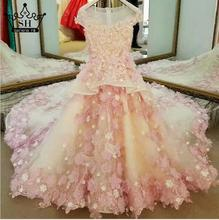 Luxury Colorful Flowers Diamond Flower Girl Dresses Princess Ball Gown First Communion Dresses For Girls 2017