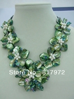 Elegant Woman Handmade shell slice pearl Knit Green Beautiful Flower Bib V neck Chain Necklace Chunky Hide Rope Gift