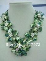 Người phụ nữ thanh lịch handmade miếng vỏ trai dệt kim xanh lá đẹp hoa Bib V-cổ CHUỖI NECKLACE Chunky Hide Rope Gift