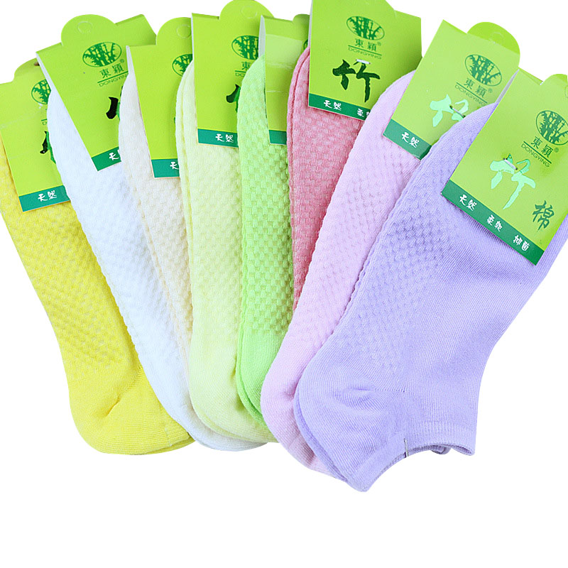 10 Pcs=5 Pairs Women Warm Comfortable Cotton Bamboo Fiber Girl Women's Socks Ankle Low Female Invisible Color Girl Hosiery Meias